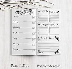 Printable Inserts Weekly Planner Midori Weekly Spreadsheet