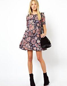 Image 4 ofASOS Swing Dress In Paisley Floral