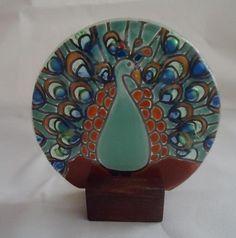 "Peacock Motif Fused Art Glass Round on Wood Stand 3"" Ecuador Fair Trade   eBay"