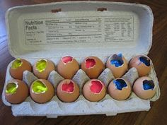 Throw paint-filled eggs at canvas