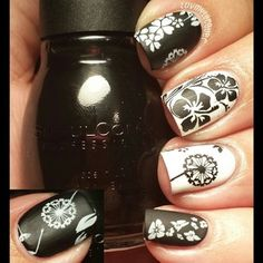 Black & White Floral Mani ♡ ~ using 2 coats of Sinful Colors 'Whipped' (matt black) and 1 coat of Cult Nails 'Tempest' (one-coat white) stamped with the following plates: MoYou Kitty Collection 02, Winstonia W104, Bundle Monster BM318, BM11, BM208, & Pueen PUEEN49 using Konad 'Black' and Cult Nails 'Tempest' ~ by Jessica of luvmylacquer