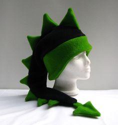 Dragon Hat  Black / Green Fleece Dinosaur Mens by ningenheadwear, $28.00    Still a favorite of mine.