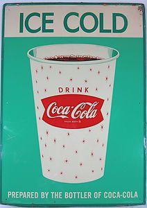 vintage coke signs | Vintage Coke Coca Cola Tin Enamel 60s Ice Cold Drink Paper Cup Green ...