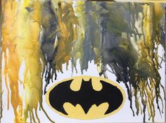 Batman Melted Crayon Art Something similar.. Not batman.. And maybe the outline with no crayon? Could be cute