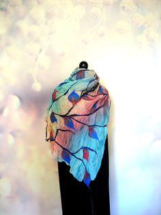 Felted scarf on silk fabric decorated with autumn leaves. Elf Cosplay, Elf Costume, Nuno Felt Scarf, Felted Scarf, Halloween Hats, Woodland Fairy, Nuno Felting, Mulberry Silk, Pastel Goth
