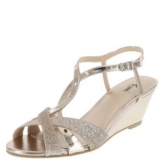 """The Grace Sandal won't let you down on that special day. This Fioni sandal features a dual upper composed of glitter and smooth metallic, adjustable ankle sling with buckle, soft jersey lining and padded insole, low 2 1/2"""" wrapped wedge heel, and a rubber outsole. Manmade materials."""