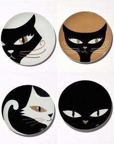 assiettes à dessert décor chats de monoprix