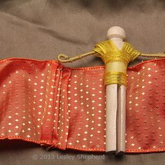 Make a Clothespin Doll With a Traditional Sari Costume: Pleat the Ribbon for the Clothespin Doll Sari