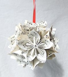 Note Worthy Origami Ornament-origami Christmas ornament featuring sheet music notes handmade handcrafted homemade by katherine parker made in nc usa Sheet Music Ornaments, Music Christmas Ornaments, Origami Christmas Ornament, Origami Ornaments, Ribbon On Christmas Tree, Cool Christmas Trees, Christmas Crafts, Diy Ornaments, Xmas