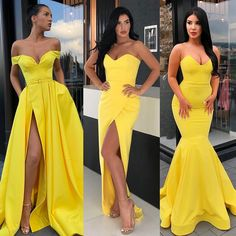 Image may contain: 3 people, people standing Sweet 16 Dresses, Elegant Dresses, Dance Dresses, Prom Dresses, Formal Dresses, Yellow Bridesmaid Dresses, Yellow Dress Wedding, First Night Dress, Maxi Dresses