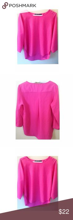Zara Basic Top Zara Basic Long Sleeve Top.. Color is fuchsia. The color varies in the photo because  of the lighting...top is in great condition! Zara Tops Blouses