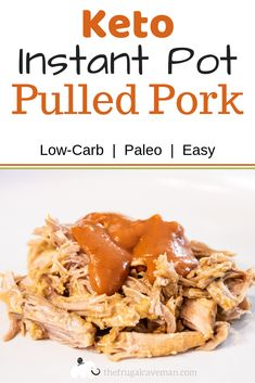 Pulled pork is a Southern and American staple. It is traditionally made from slow cooking or smoking pork for hours. This Instant Pot Pulled Pork is a quick shortcut with great smoky flavor. This recipe is Keto, low-carb, and easy to make. Lunch Recipes, Paleo Recipes, Low Carb Recipes, Banting Recipes, Microwave Recipes, Recipes Dinner, Pork Recipes, Lunches And Dinners, Meals