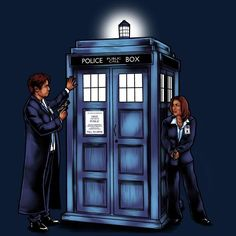 X-Files T-Shirt by Jennette Brown aka sugarpoultry. The Agents have the Phone Box is an X-Files and Doctor Who mashup t-shirt. Mulder and Skully and TARDIS. Norman Bates, Doctor Who, Science Fiction, The X Files, Day Of The Shirt, Dana Scully, Boxing T Shirts, Fandom Crossover, Thing 1