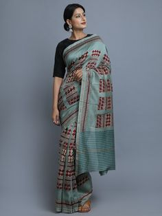 Blue Maroon Hand Block Printed Chanderi Silk Saree