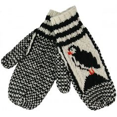 Knitted Mittens With Puffin Pattern Knitted Mittens Pattern, Loom Knitting Patterns, Crochet Mittens, Crochet Gloves, Knitting Socks, Knitted Hats, Knit Crochet, Knit Socks, Free Crochet