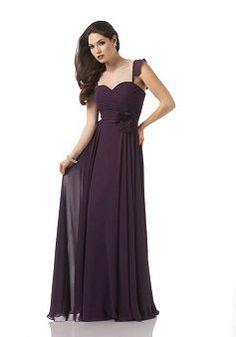 Straps A line Chiffon Empire With Flowers Bridesmaid Dress - 1300105656B - US$99.99 - BellasDress