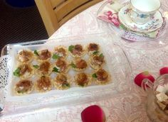 Filo cups with goat cheese, fig and prosciutto