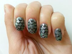 Mermaid scale 3d nails, effect fish scale. Nail art