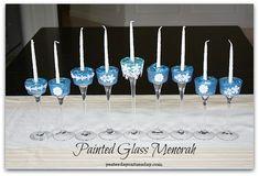 Painted Glass Menorah #hanukkah #menorah #hanukkahcrafts #yesterdayontuesday #MSholiday