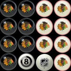 Chicago Blackhawks Pool 8 Ball Billard Set