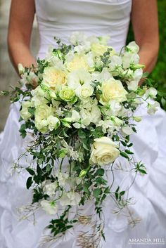"""Wild"" Cascading Wedding Bouquet Of Pastel Yellow/Green Roses, Spray Roses, White Sweet Pea & Greenery/Foliage"