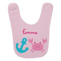 Nautical Pink Crab Baby Bib