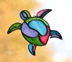 Stained Glass Suncatcher, Abstract Sea Turtle in Vibrant Pastel Colors, Polynesian Style, Island Vibe, Sea life Window Hanging, Coastal