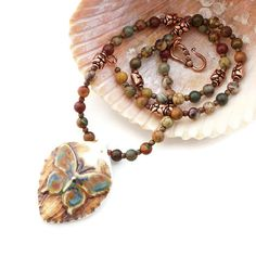Butterfly Beaded Necklace with Artisan-Made Butterfly Pendant and Cherry Creek Jasper Beads -- by SolanaKaiDesigns on Etsy