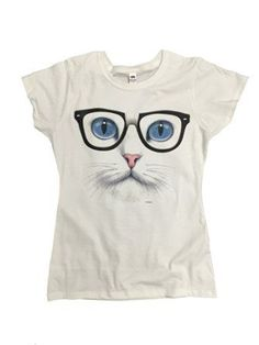 P&B Blue Eyed Nerdy Cat Women's T-Shirt, S, White *Click image to check it out* (affiliate link)
