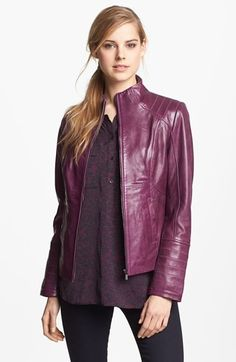 La Marque Funnel Neck Leather Jacket available at #Nordstrom  #nsale
