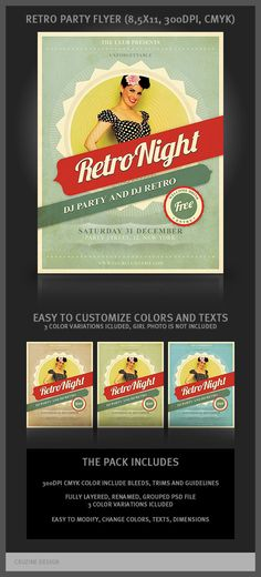 THEME RETRO NIGHT -   Retro Party Flyer Template by Peter Olexa, via Behance