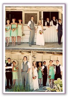 mint green bridesmaid dresses, bouquets with pops of red, groomsmen in black, groom in grey