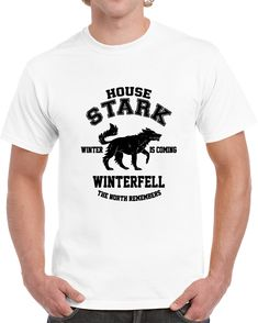 House Stark Winter Is Coming Winterfell The North Remember Game Of Thrones Black T Shirt The North Remembers, House Stark, Winter Is Coming, Gifts For Friends, Shirt Style, Tv Series, Game Of Thrones, Mens Tops, How To Make