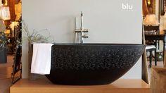Blu Bathworks halo blu•stone freestanding bathtub at Lights of Oconee.