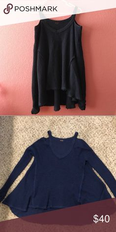 Free People Navy Moonshine sweater Cut out shoulder style, perfect condition. Free People Sweaters V-Necks