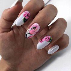 20 Flamingo Tropical Nail Art Flamingo nails design de unhas … - All For Hair Color Trending Tropical Nail Art, Tropical Nail Designs, Flamingo Nails, Pink Flamingos, Tattoo Henna, Nagellack Trends, Diy Nails, Nail Nail, Nail Pink