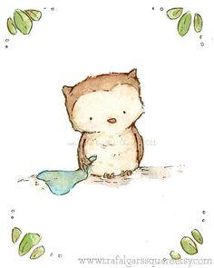 Nursery Art Little Owl Blue 8x10 Art Print by trafalgarssquare, $20.00