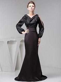 Long Sleeves Satin Mermaid Dress