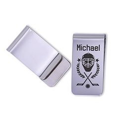 """Personalized Hockey money clip/Laser Marked. These personalized money clips make great gifts for that special guy in your life. Each one is permanently laser marked into the metal giving it that unique touch. They have a polished finish and each clip will come gift boxed ready for gift giving. CHECKING OUT: please provide 1. Name Money Clip Details: - Measures 1"""" x 2"""" - Stainless Steel/Polished - Laser Marked/Permanent."""