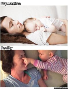 Mommy Memes, Funny Baby Memes, Funny Babies, Funny Jokes, Baby Humor, Funny Baby Pictures, Funny Images, Kids Kiss, Expectation Reality