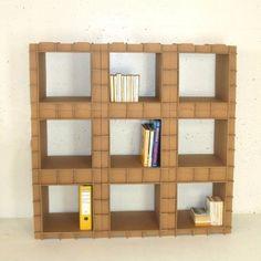 biblioth que 800 gr compos e de modules en carton empilables modulaire carton et meubles. Black Bedroom Furniture Sets. Home Design Ideas