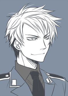 {Aph Prussia, Hetalia, fanart, anime}---- I love the look in Prussia's eye in this one. Denmark clearly helped him with his hair that morning! Me Me Me Anime, Anime Guys, Manga Anime, Anime Art, Spamano, Usuk, Prussia Hetalia, Hetalia Fanart, Gilbert Beilschmidt