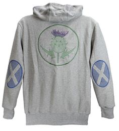 Men's zip hoodie with Scottish flag sleeve patches and large embroidered thistle design on back.   British Made.    http://www.josery.com/collections/mens-hoodie/products/mens-zip-hoodie-with-scottish-flag-design-sleeve-patches-and-thistle-design-on-back
