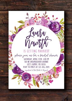 Purple Flowers Bridal Shower Invitation Invite Unique by 21Willow