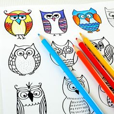 Free Printable → Owls Coloring Page