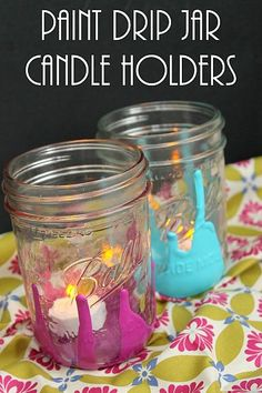Paint Drip Jar Candle Holders @countrychiccott