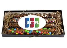 Delight clients and customers this holiday season with Custom Chocolate Gift Boxes. Add your logo to Promotional Boxed Chocolate Gifts for a tasty giveaway. Chocolate Gift Boxes, Custom Chocolate, Chocolate Covered Pretzels, Event Services, Food Gifts, Great Gifts, Candy, Label, Pretzel Sticks