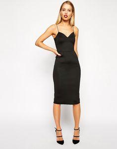 Image 1 ofASOS Scuba Deep Plunge Midi Dress