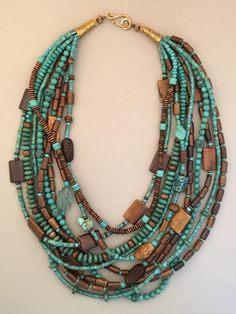 Multi-Strand Long Turquoise Statement Necklace One-of-a-kind multi-strand statem… - HandCrafted Turquoise Jewelry, Boho Jewelry, Bridal Jewelry, Beaded Jewelry, Jewelry Box, Jewelery, Jewelry Necklaces, Women Jewelry, Handmade Jewelry