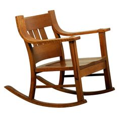 Unusual Arts & Crafts Oak Rocking Chair
